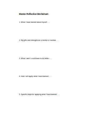 mentor reflection worksheet