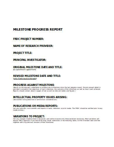 milestone progress report