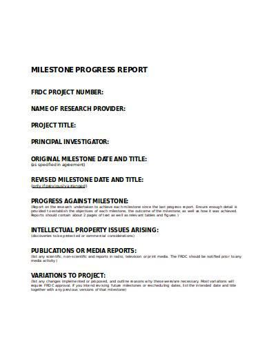 milestone progress report