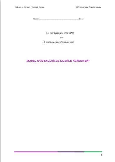 model non exclusive license agreement template