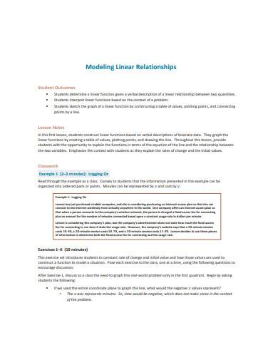 modeling linear relationship template
