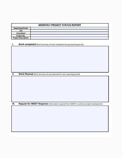 monthly consultant status report sample