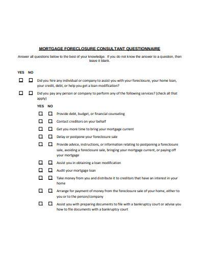 mortgage consultant questionnaire