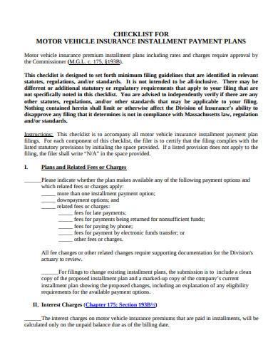motor vehicle insurance installment payment plan