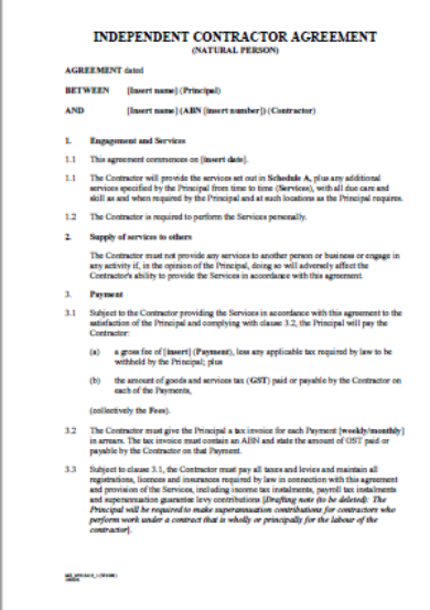 natural person independent contractor agreement template