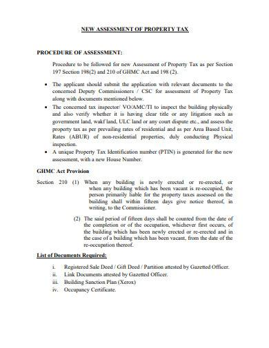 new assessment of property tax