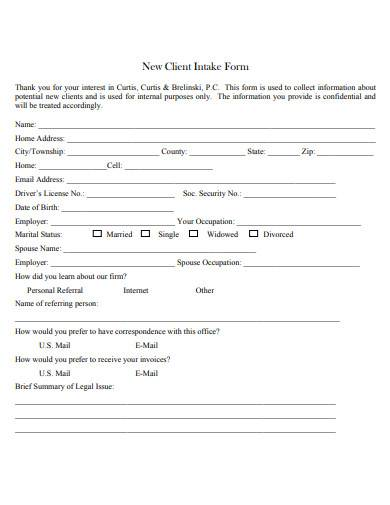 new client intake form