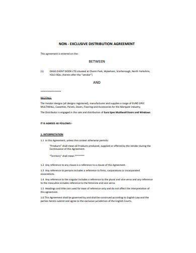 non exclusive distribution agreement template1