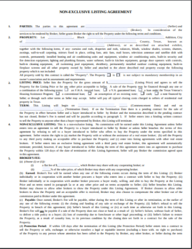 non exclusive listing agreement template