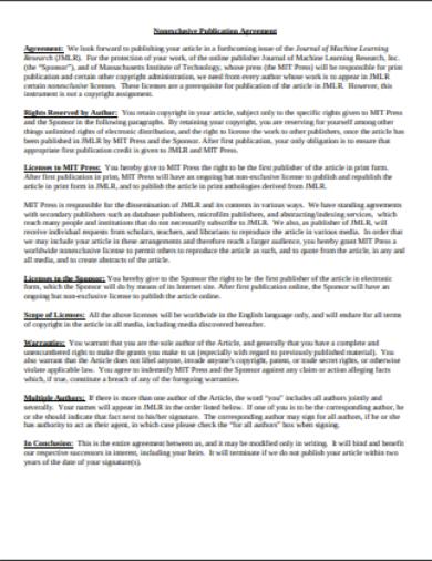 non exclusive publication agreement template