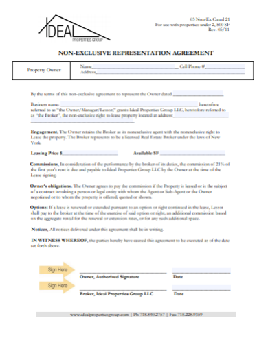 non exclusive representation agreement template