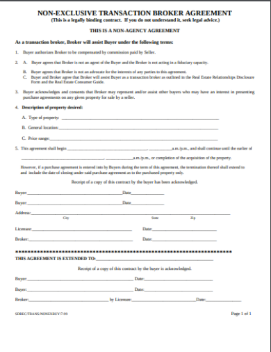 non exclusive transaction broker agreement template