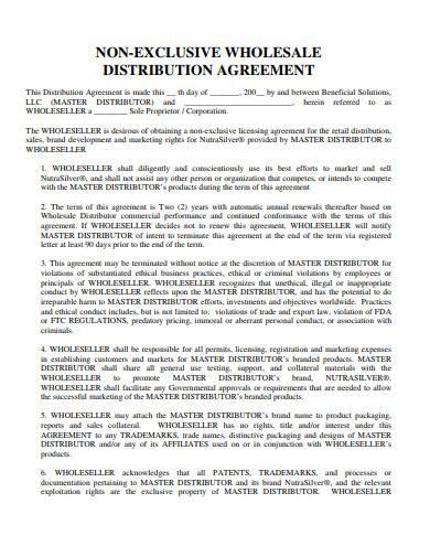 non exclusive whole sale distribution agreement