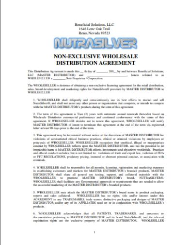 non exclusive wholesale distrbution agreement template