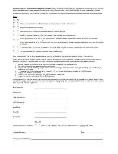 non immigrant visa interview waiver eligibility checklist