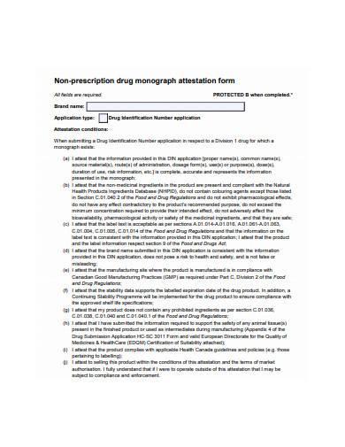 non prescription drug monograph attestation form