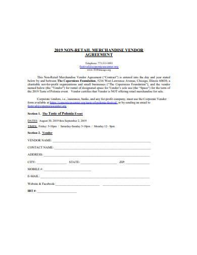 non retail vendor agreement sample