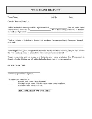notice agreement of lease termination