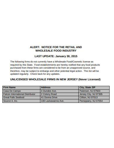 notice for the retail and wholesale food industry