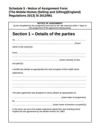 notice of assignment form