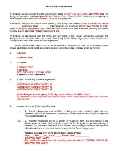 notice of assignment in doc