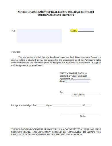 notice of assignment of real estate purchase contract