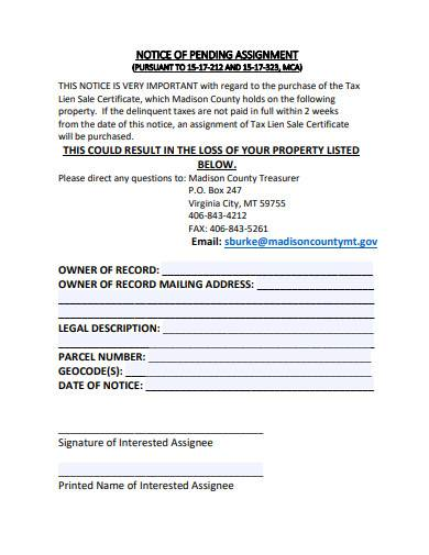 notice of pending assignment