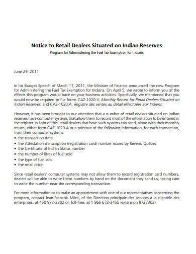 notice to retail dealers situated on indian reserves