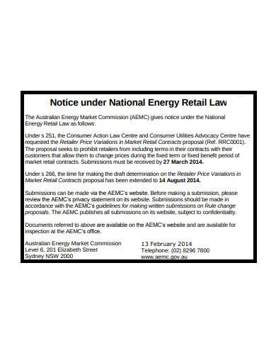 notice under national energy retail law