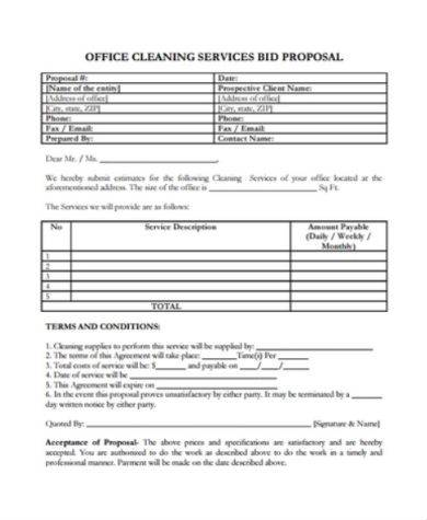 office cleaning service proposal sample