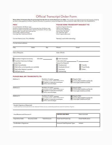 official transcript order form template
