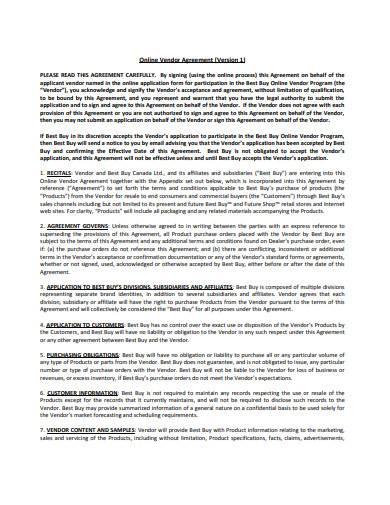 online retail vendor agreement in pdf