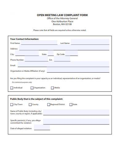 open meeting law complaint form
