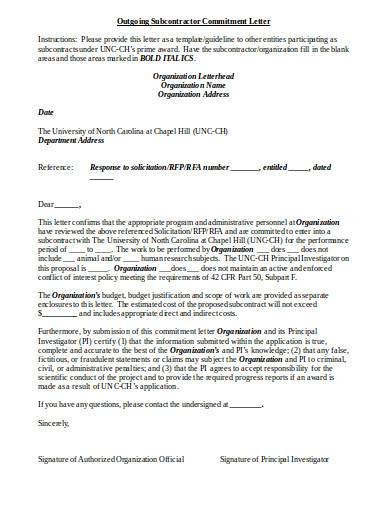 outgoing subcontractor commitment letter