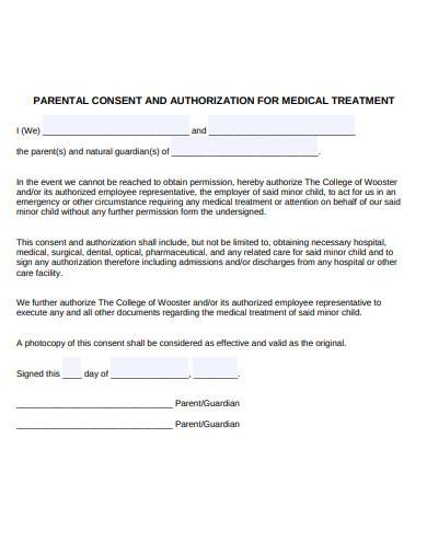 parental consent and authorization for medical treatment