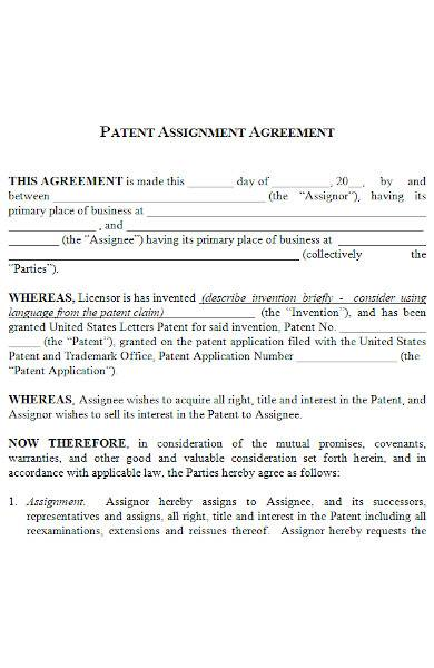 patent assignment agreement in ms word