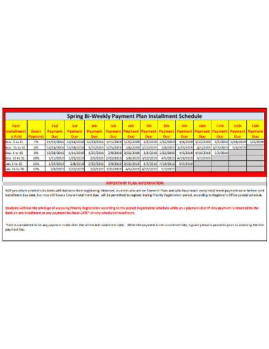 payment plan installment schedule