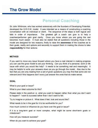 personal grow coaching model
