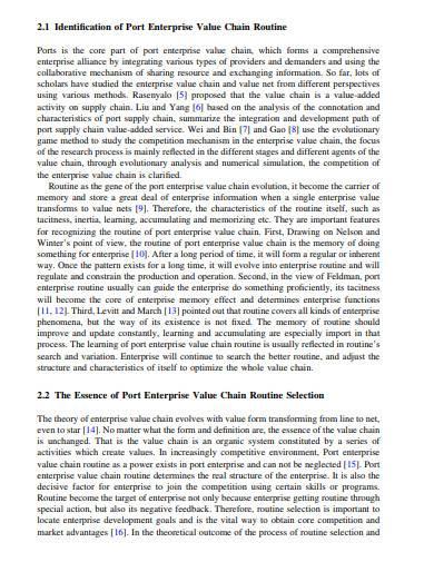 port enterprise value chain routine