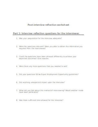 post interview reflection worksheet