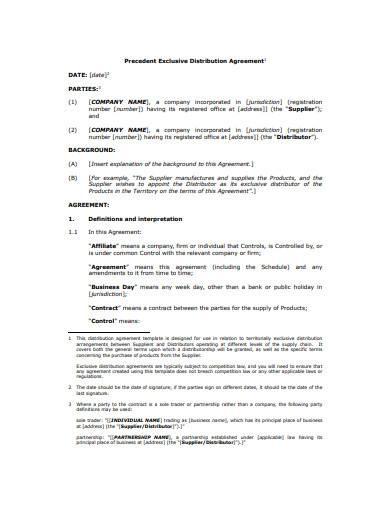 precedent exclusive distribution agreement