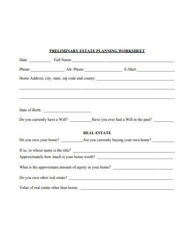 FREE 10+ Estate Planner Worksheet Samples in PDF   MS Word