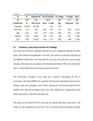 price earnings ratio example