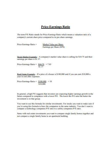 price earnings ratio sample