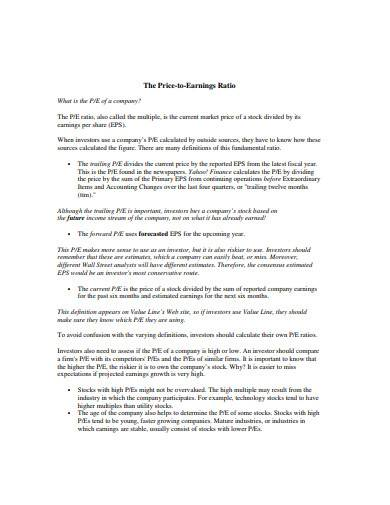 price to earnings ratio template