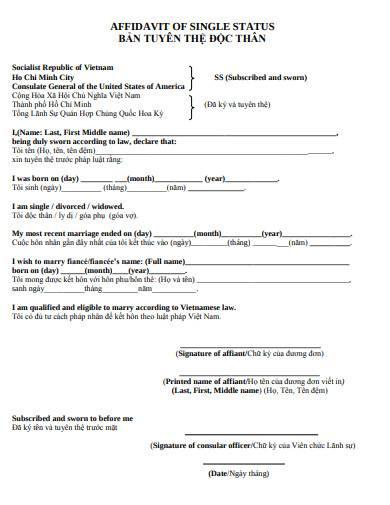 printable affidavit of single status