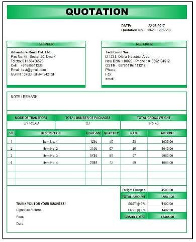 printable repair quotation template