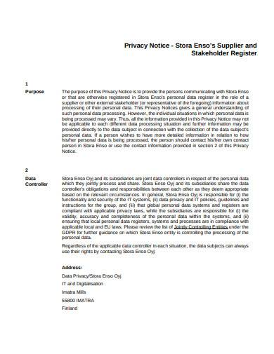 privacy notice stakeholder register