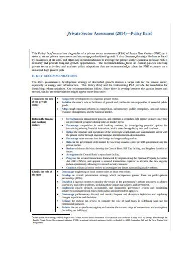 private sector assessment policy