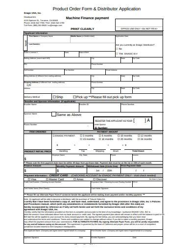product order form and distributor application